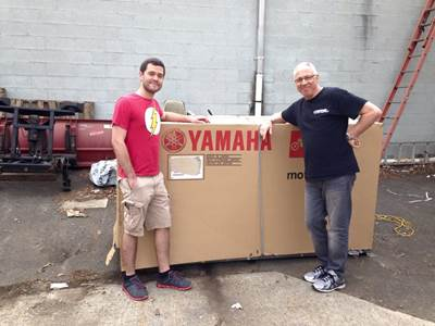 Steve with Daniel getting ready for his new 2015 Yamaha FZ7