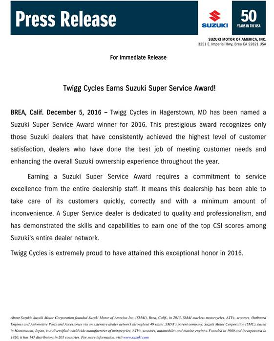 Twigg cycles-press release