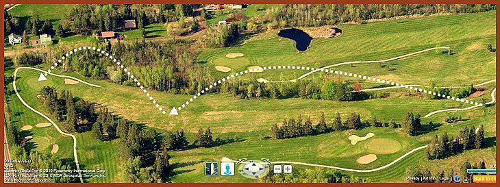 satellite view predicting the accurate shot for Hole4