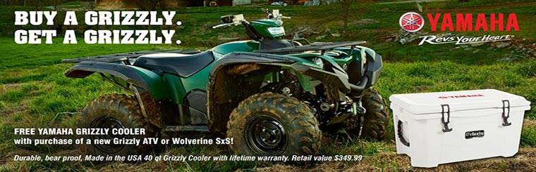 Buy a Grizzly. Get a Grizzly. Free Yamaha Grizzly Cooler with the purchase of a new Grizzly ATV or Wolverine SxS! Durable, bear proof. Made in the USA 40 qt Grizzly Cooler with lifetime warranty. Retail value $349.99.