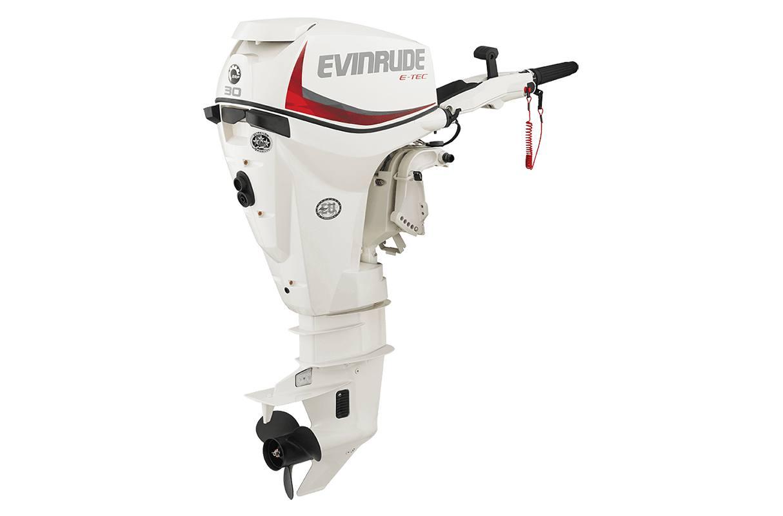 "2016 Evinrude E30TESL - 30HP White, 20"", Tiller, Manual Tilt"