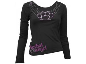 WOMENS KNUCKLE NECKLACE LONG SLEEVE TEE