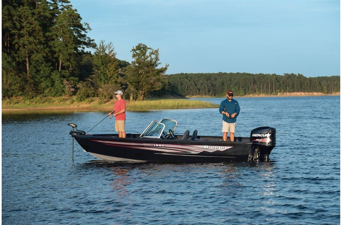 2019 Ranger VS1882 WT with two men fishing on it