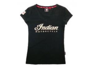 LADIES V-NECK ECRU LOGO TEE