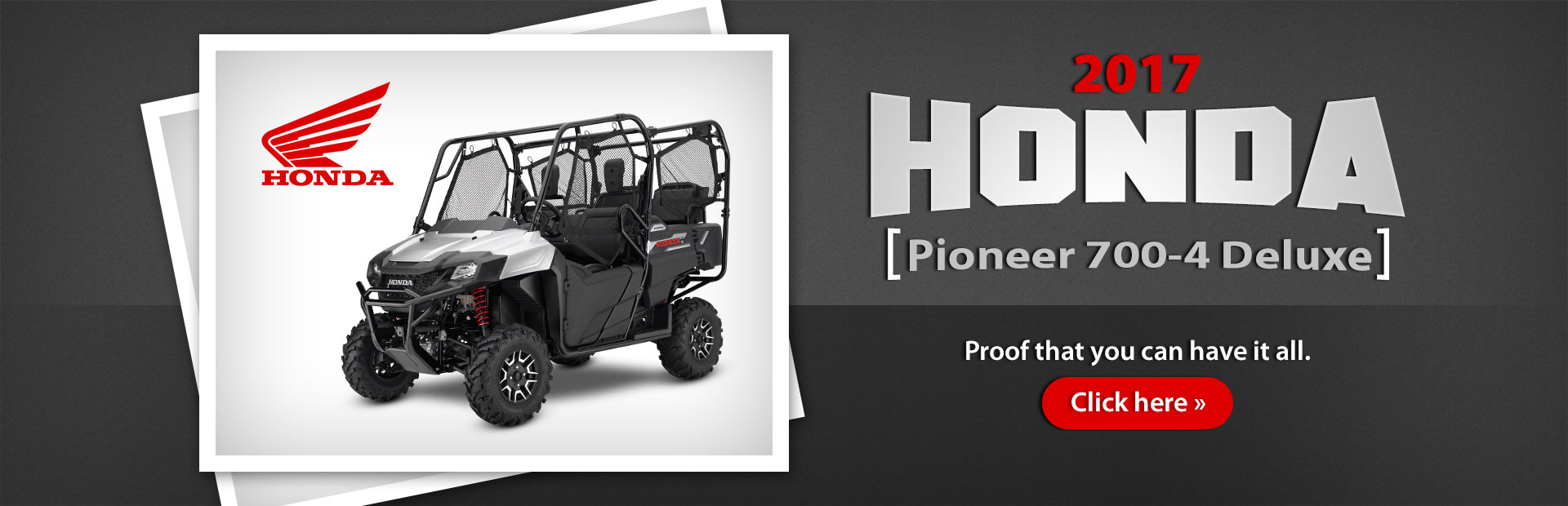 The 2017 Honda Pioneer 700-4 Deluxe: Click here for details.
