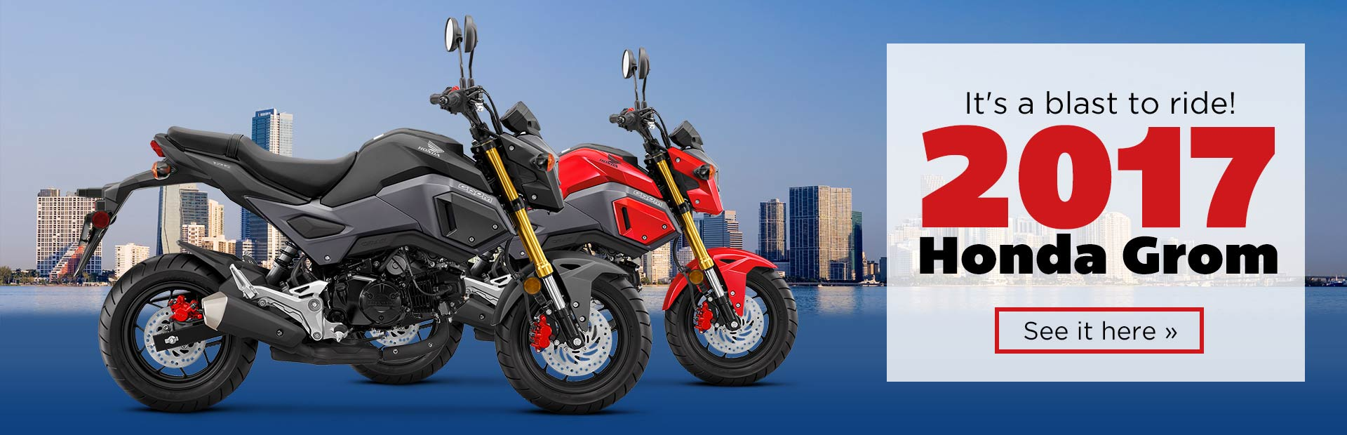 The 2017 Honda Grom is a blast to ride! Click here to view the model.