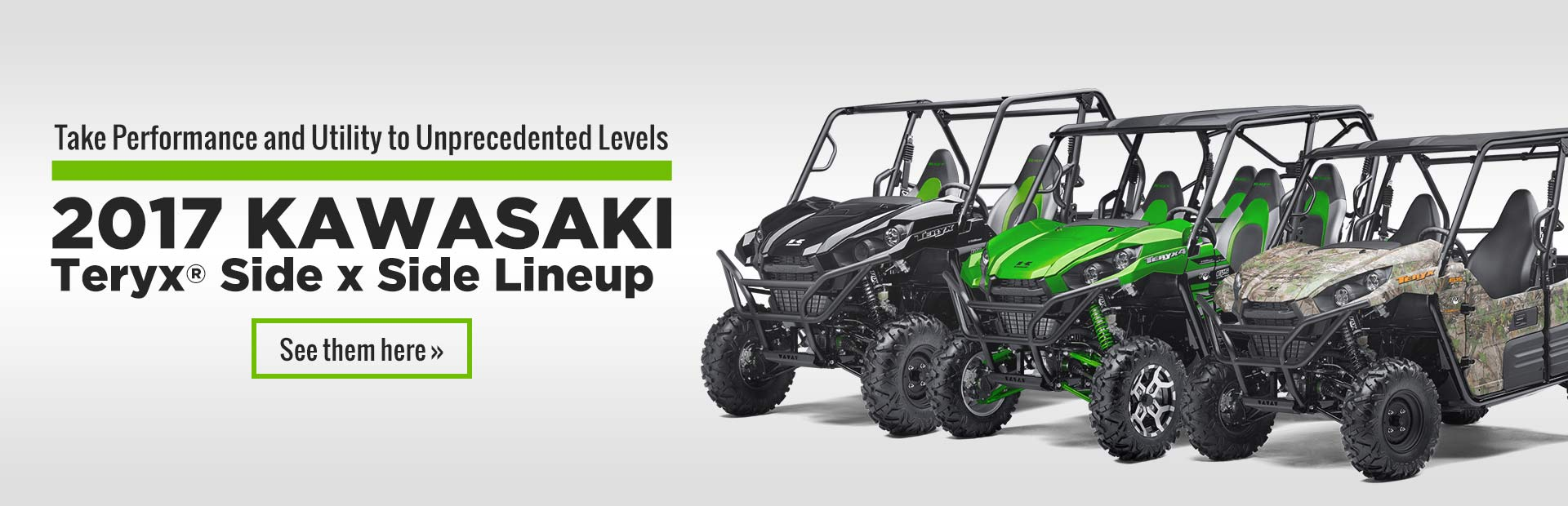 Click here to view the 2017 Kawasaki Teryx® side x side lineup.