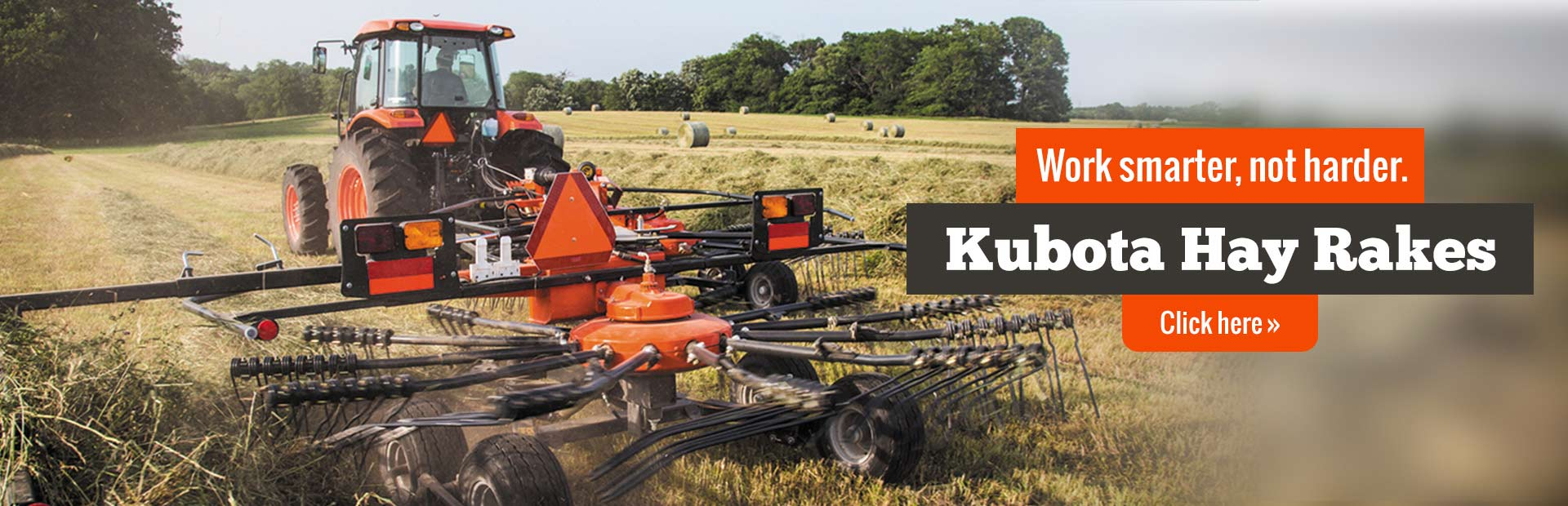 Work smarter and not harder with Kubota hay rakes! Click here to view our selection.