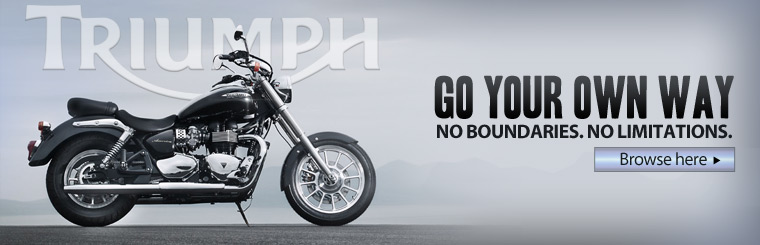 Go your own way with Triumph. Click here to browse motorcycles.