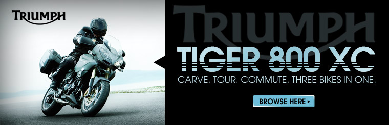 The Triumph Tiger 800 XC is three bikes in one. Click here to browse.