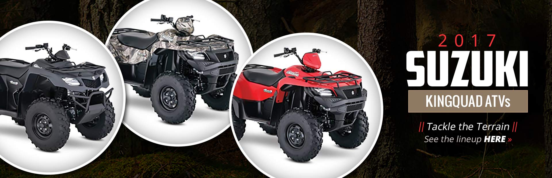 2017 Suzuki KingQuad ATVs: Click here to view the lineup.