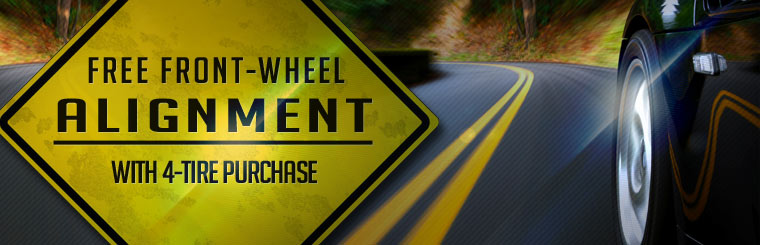 Get a free front-wheel alignment with a four-tire purchase! Click here to browse tires now.