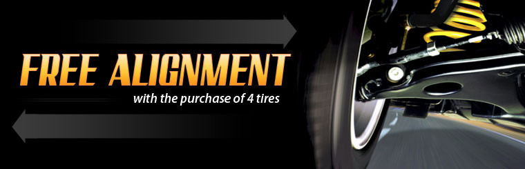 Free Alignment with the Purchase of 4 Tires: Click here for the coupon!