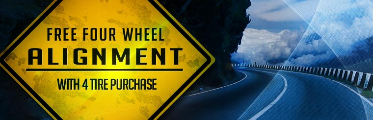 Get a free four-wheel alignment with the purchase of four new tires! Click here for the coupon.