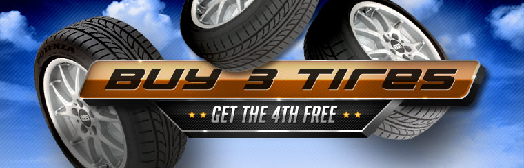 Buy three new tires, get the fourth free! Click here for the coupon.