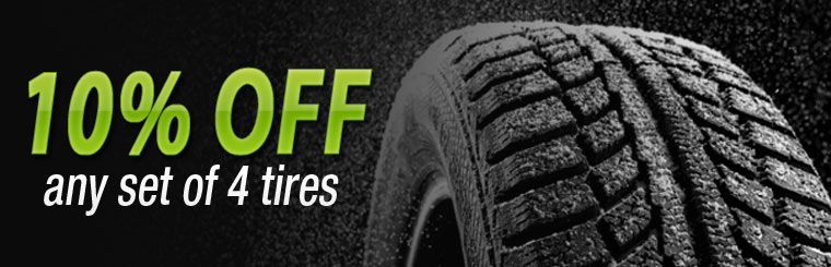 Get 10% off any set of four new tires! Click here for the coupon.