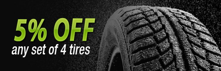 Get 5% off any set of four tires! Click here for the coupon.