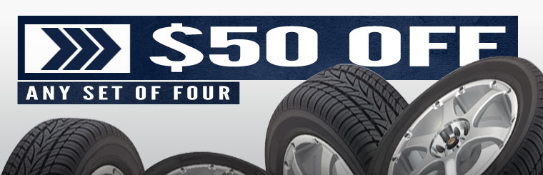Get $50 off any set of four new tires! Click here for the coupon.