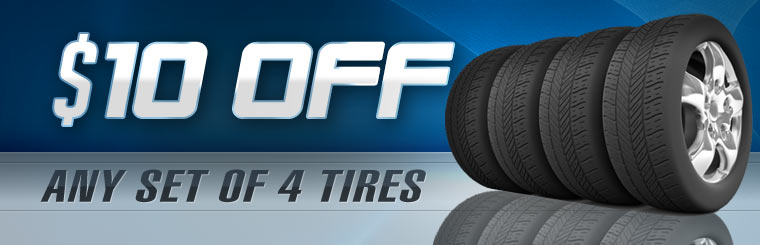 Get $10 off any set of four new tires! Click here for the coupon.