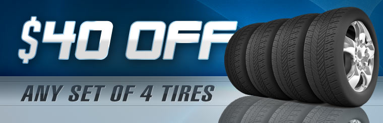 Get $40 off any set of four new tires! Click here for the coupon.