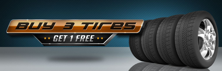 Buy three new tires, get one free! Click here for the coupon.