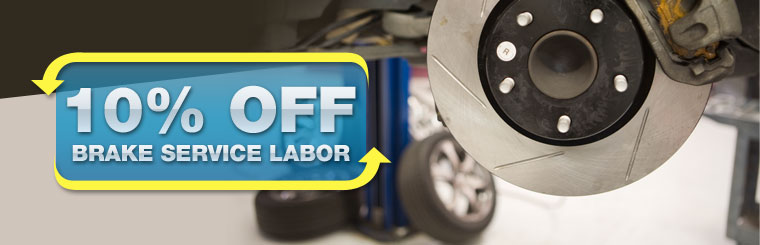 Take 10% off brake service labor. Click here for a coupon.