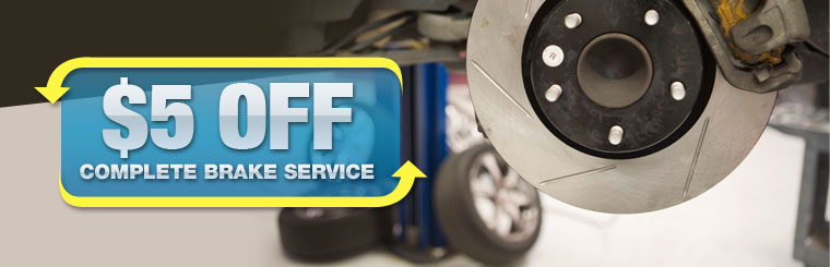 $5 Off Complete Brake Service: Click here for the coupon!