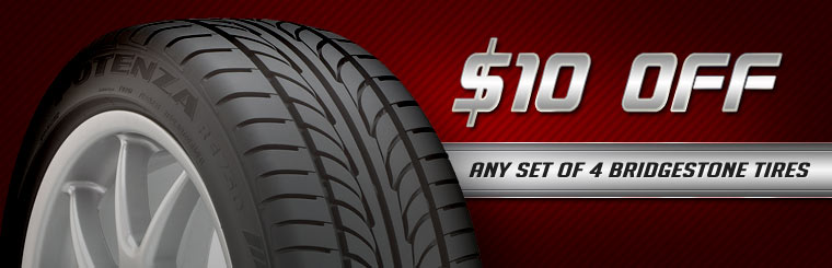 Get $10 off any set of four new Bridgestone tires! Click here for the coupon.