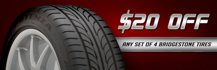 Get $20 off any set of four new Bridgestone tires! Click here for the coupon.