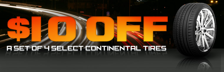 Take $10 off a set of four select Continental tires! Click here for the coupon.