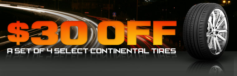Take $30 off a set of four select Continental tires! Click here for the coupon.