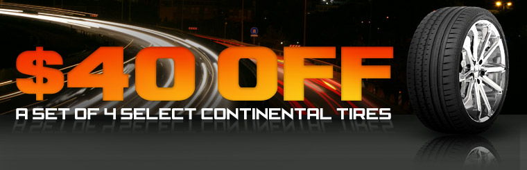 Take $40 off a set of four select Continental tires! Click here for the coupon.
