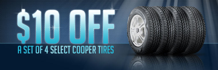 Get $10 off a set of four select Cooper tires! Click here for the coupon.