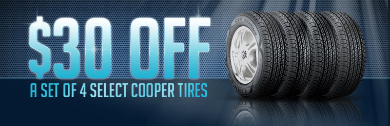 Get $30 off a set of four select Cooper tires! Click here for the coupon.