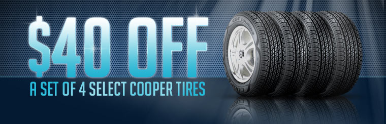 Get $40 off a set of four select Cooper tires! Click here for the coupon.
