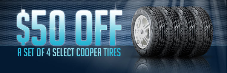 Get $50 off a set of four select Cooper tires! Click here for the coupon.
