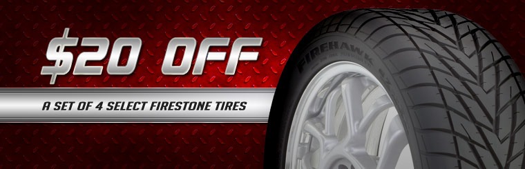 Take $20 off a set of four select Firestone tires. Click here for a coupon.