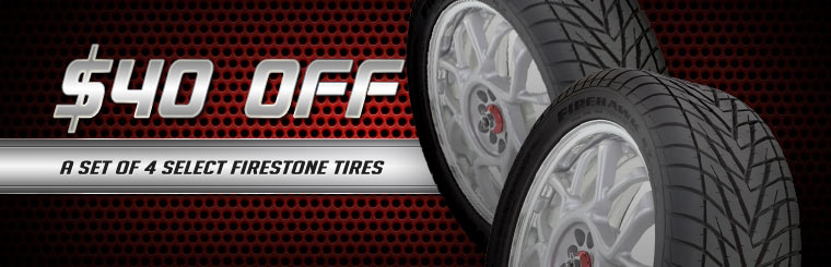 Take $40 off a set of four select Firestone tires. Click here for a coupon.