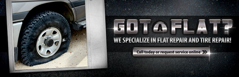 We specialize in flat repair and tire repair! Call today or request service online.