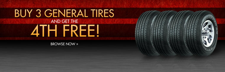 Buy three General tires, and get the fourth for free! Click here to browse now.