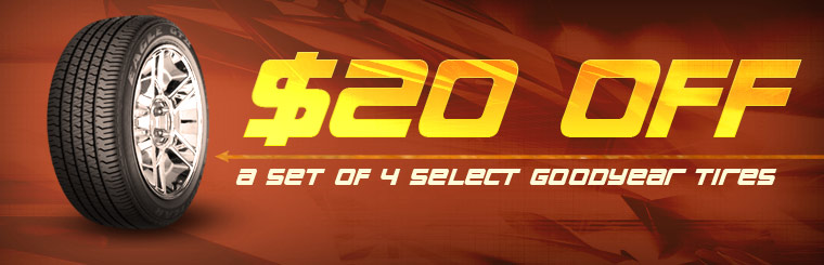 Take $20 off a set of four select Goodyear tires! Click here for the coupon.