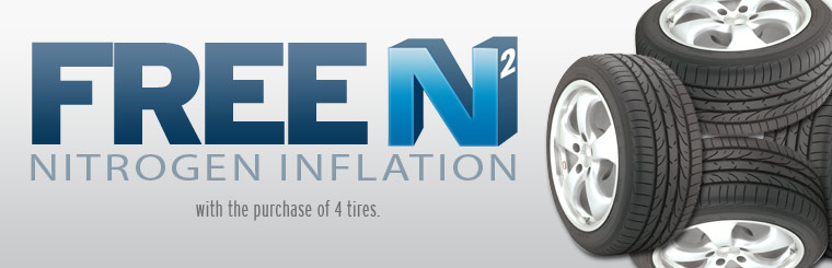 Get free nitrogen inflation with the purchase of four new tires! Click here for the coupon.