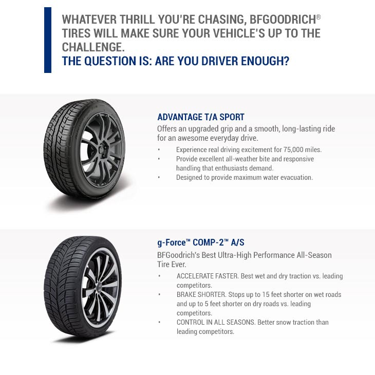 Whatever thrill you're chasing, BFGoodrich® Tires will make sure you'r vehicles up to the challenge.