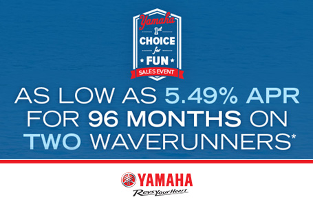 As Low As 5.49% APR For 96 Months On 2 Waverunners
