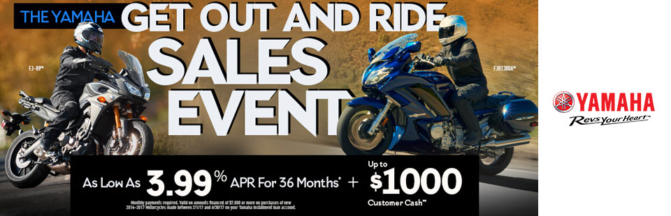Yamaha: As Low As 3.99% APR For 36 Months+ Up To $1000
