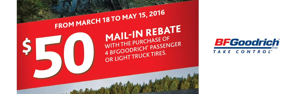 BFGoodrich® $50 Mail-In Rebate with the purchase of 4 BFGoodrich® passenger or light truck tires at Trail Tire