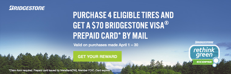 $70 Bridgestone Tire Rebate Visa Prepaid Card at Weber Tires buy four.
