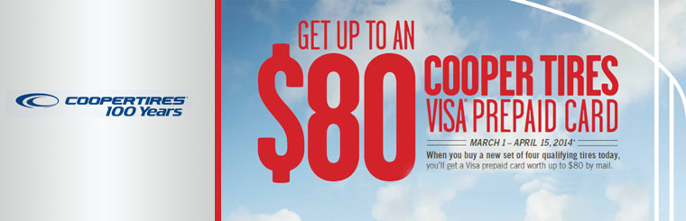 Get up to $80 Cooper Tires buy Four at Weber Tires East of Madison WI.