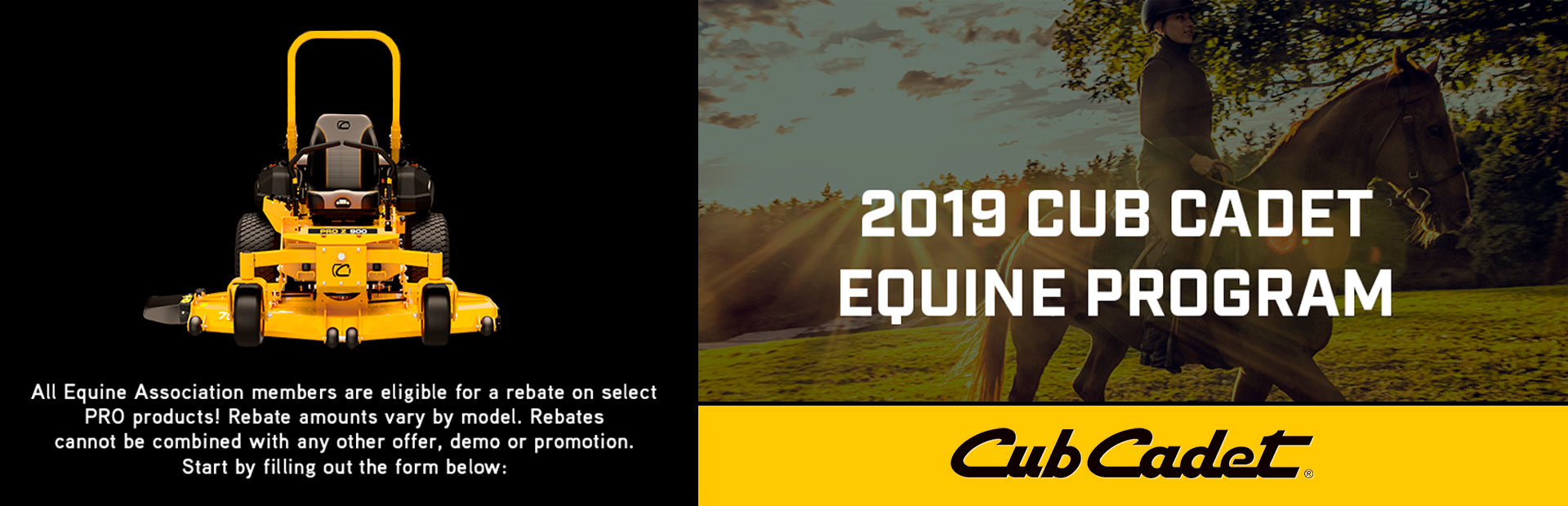 Cub Cadet: EQUINE CLUBS ELIGIBLE FOR A REBATE UP TO $500