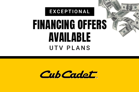 EXCEPTIONAL FINANCING OFFERS AVAILABLE. UTV PLANS